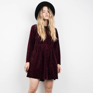Vintage Long Sleeve Burgundy Velour Floral Dress / S