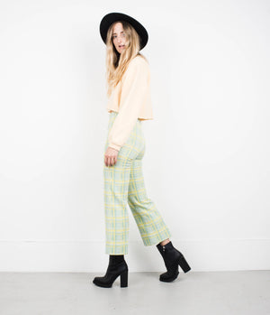 AMAZING Vintage Mint and Yellow Plaid Pants / S / pants festival trousers straight leg pants amazingly fitted stretchy trousers