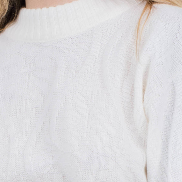 Vintage White Mock Turtleneck Knit Sweater / S