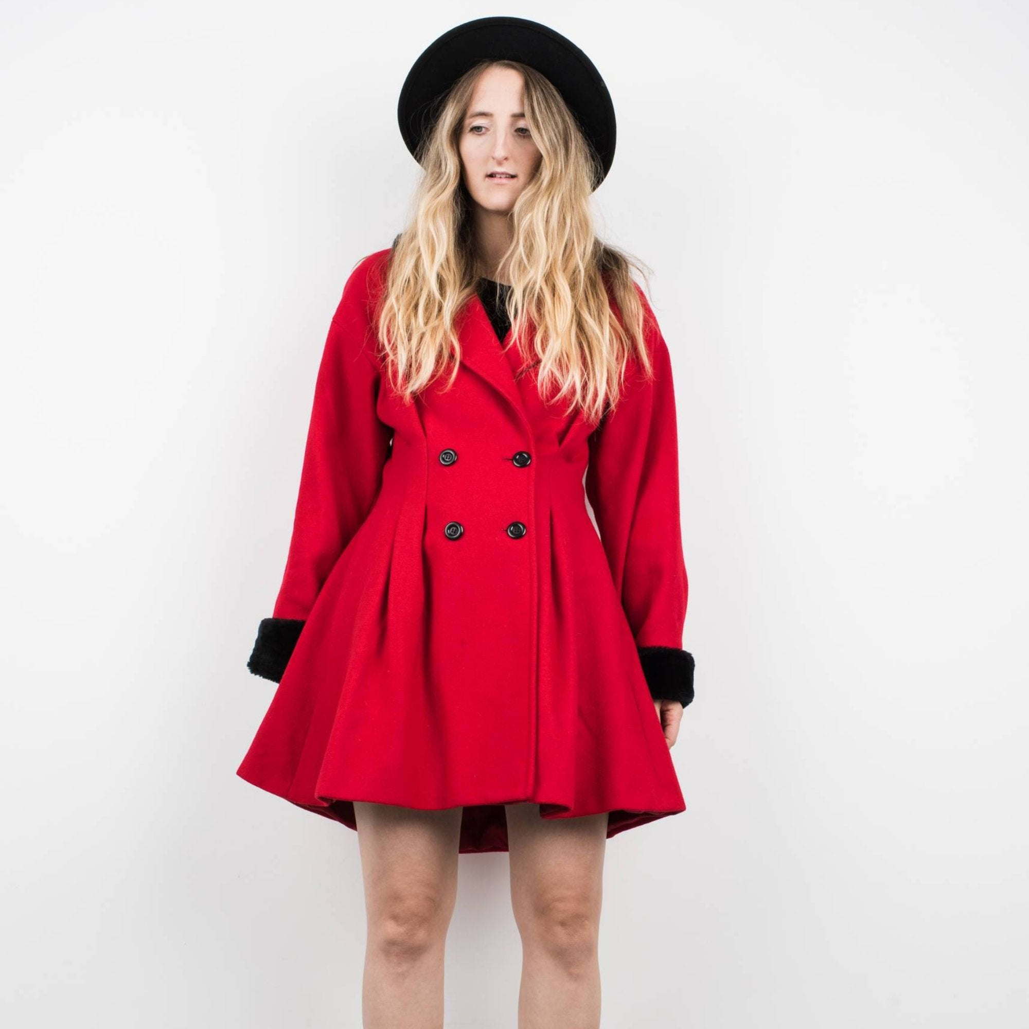 Vintage Red Faux Fur Wool Frock Coat / S