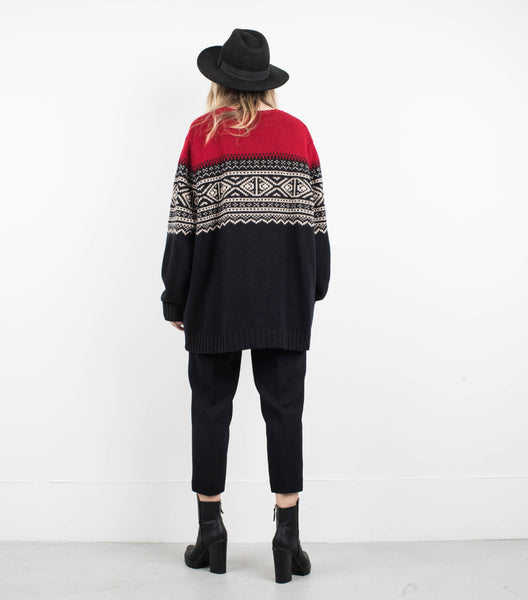 Vintage Oversized Red/Black/Creme Knit Sweater XS/S