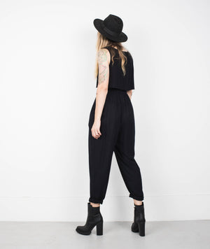 Vintage Black Crinkle Pants + Top Set / S