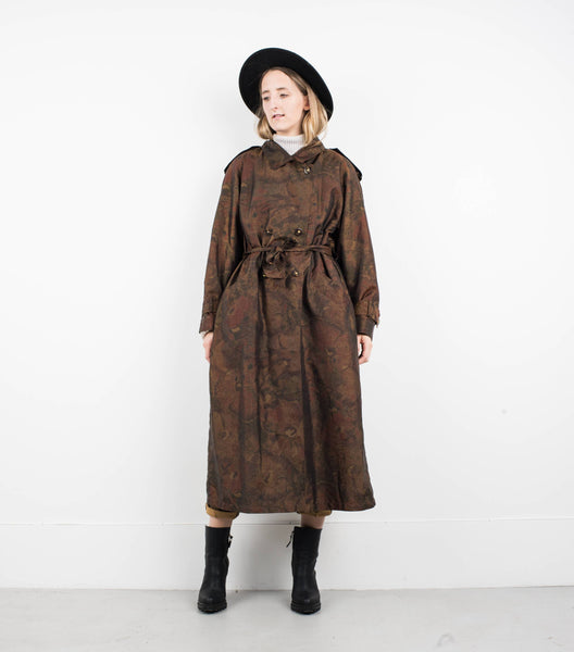 Vintage Gold and Bronze Floral Trench Coat / S