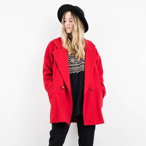 Vintage Red Oversized Wool Blazer / S
