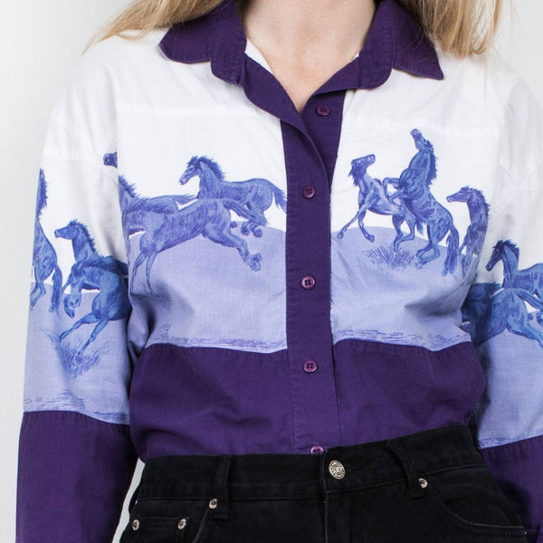 Vintage Purple and White Horse Button Up Shirt / S