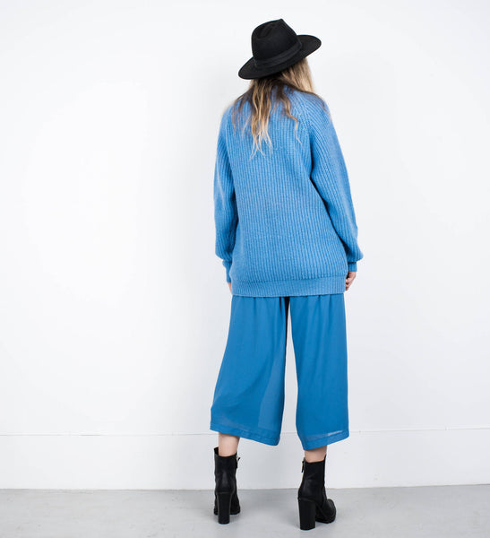 Vintage Oversized Blue Knit Sweater XS-M