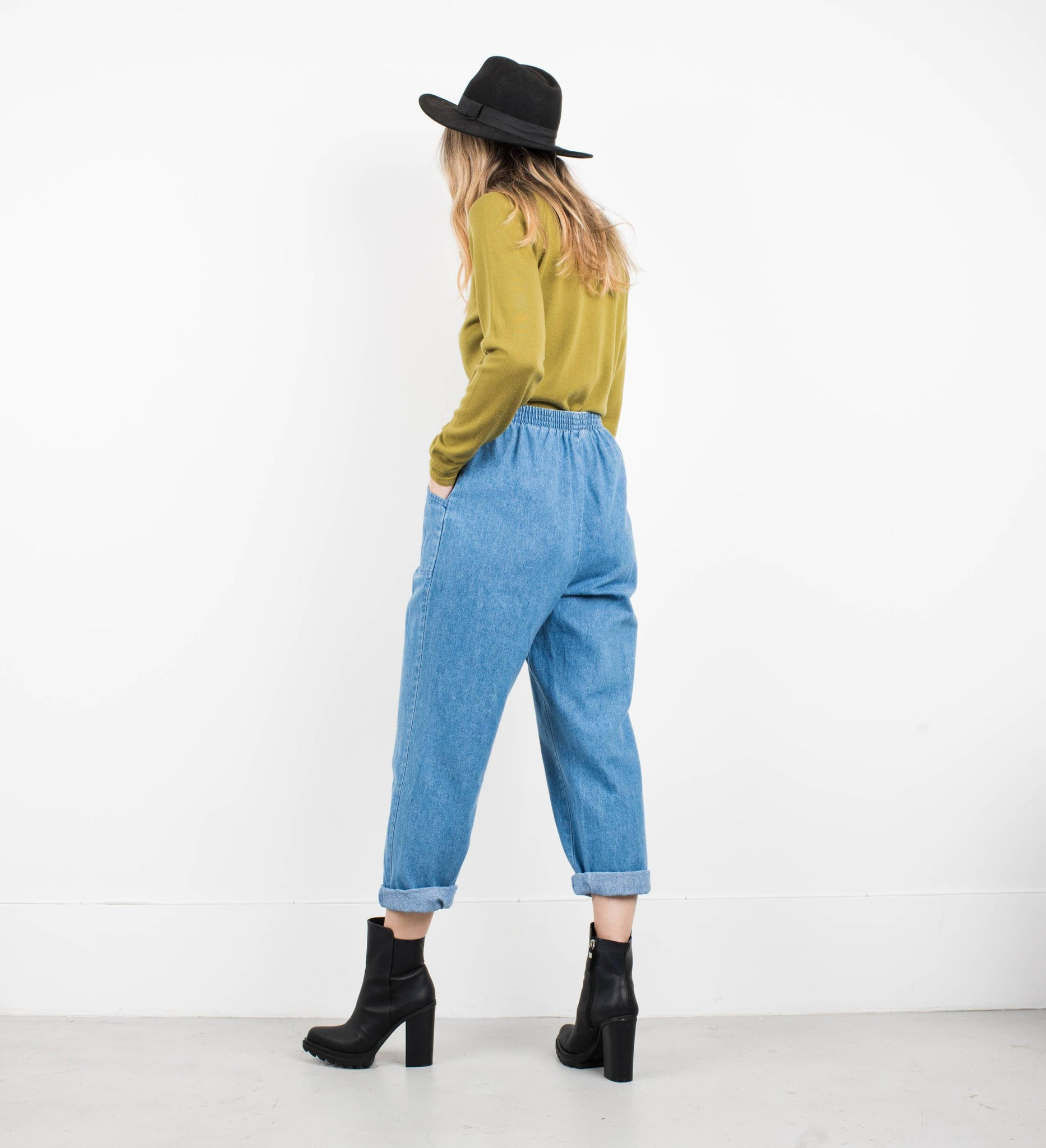 Vintage Stretched Denim Elastic Waist Denim Pants / S/M - Closed Caption