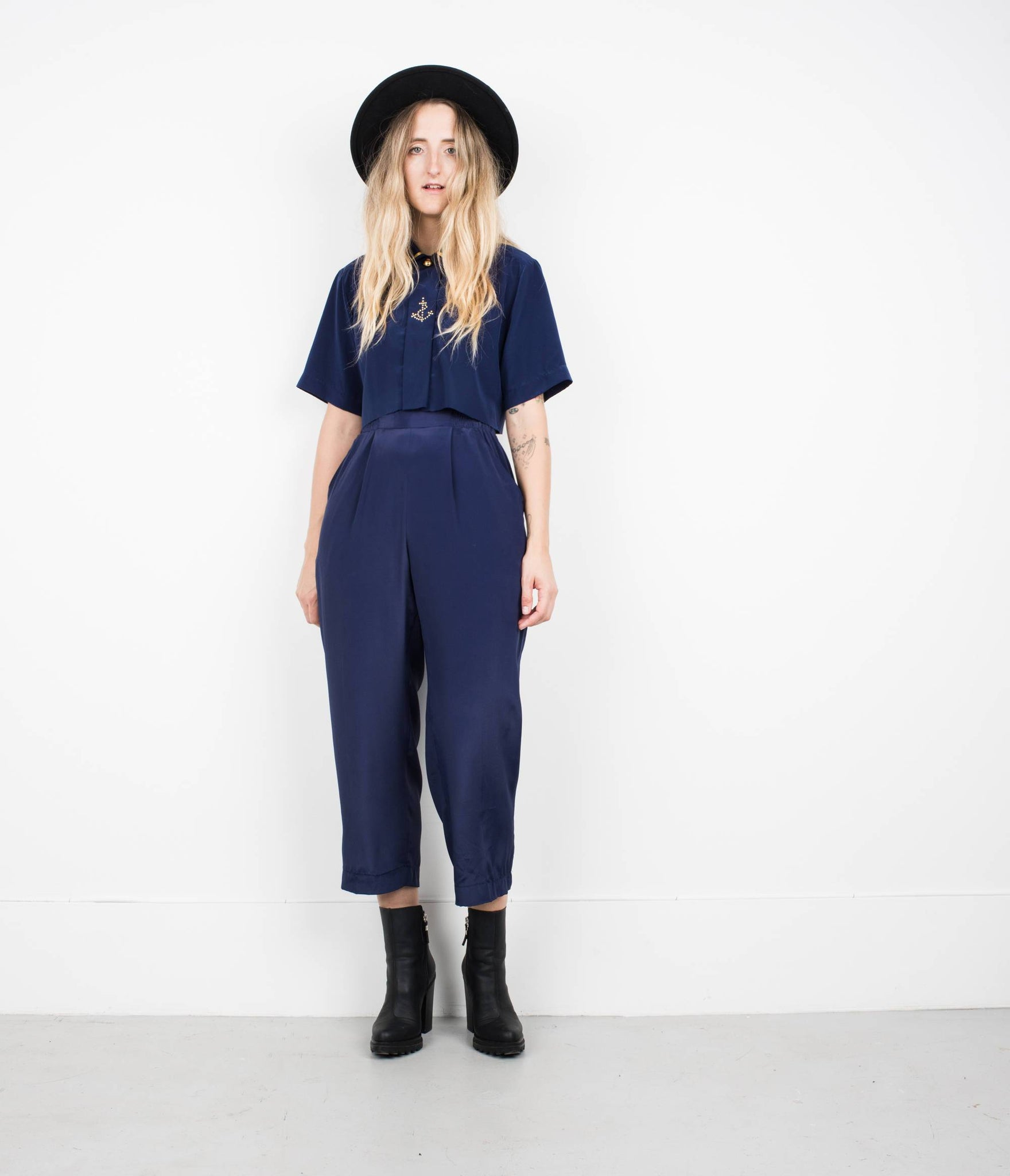 Vintage Navy Blue Sailor Trouser + Cropped Blouse Set / XS - Closed Caption