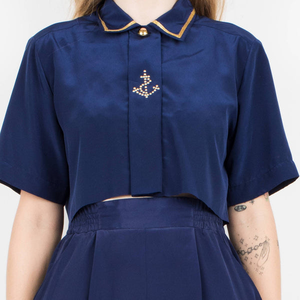 Vintage Navy Blue Sailor Trouser + Cropped Blouse Set / XS