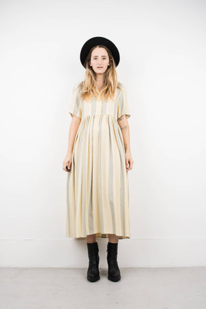 Vintage Ivory and Cornflower Striped Maxi Dress / S - Closed Caption