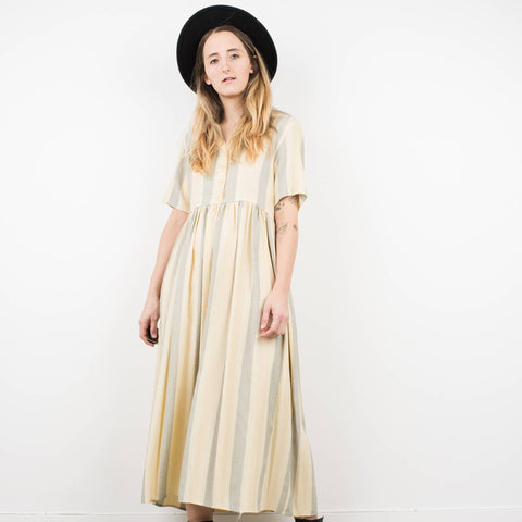 Vintage Ivory and Cornflower Striped Maxi Dress / S