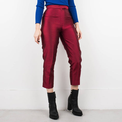 Vintage Red Apple Iridescent High Waist Trousers / S