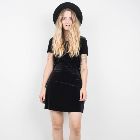 Vintage Onyx Short Sleeve Velvet Dress / S