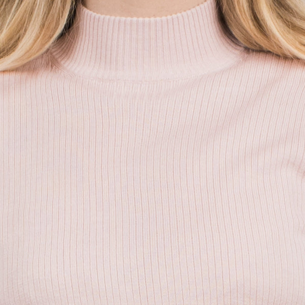 Vintage Cropped Light Pink Ribbed Silk Knit Top / S