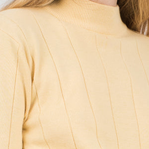 Vintage Pastel Yellow Mock Turtleneck Knit Top / S - Closed Caption