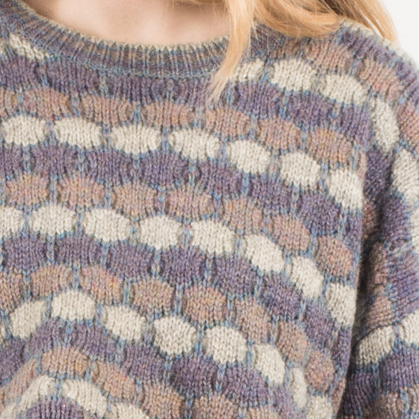 Vintage Lavender Oversized Cropped Wool Sweater / S