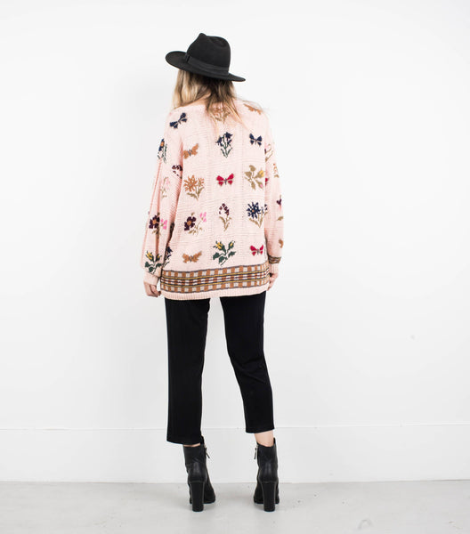 Vintage Oversized Light Pink Floral Knit Sweater XS/S