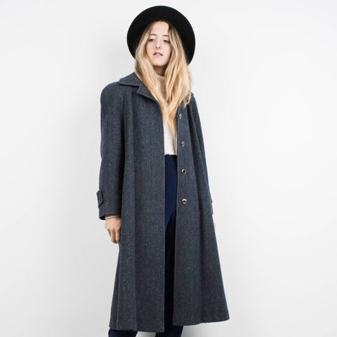 Vintage Midnight Blue Chevron Wool Coat / S