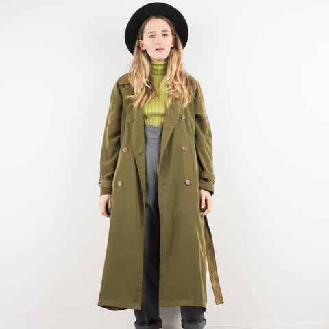Vintage Olive Green Trench Coat with Suede Collar and Belt / S
