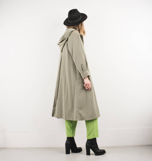 Vintage Celadon Green Light Weight Coat with Hoodie / S - Closed Caption