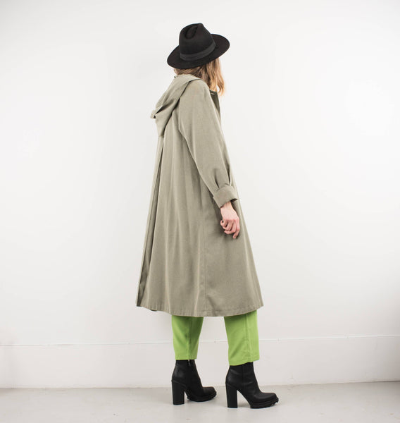 Vintage Celadon Green Light Weight Coat with Hoodie / S