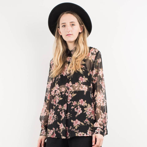 Vintage Sheer Black and Pink Floral Oversized Blouse / S