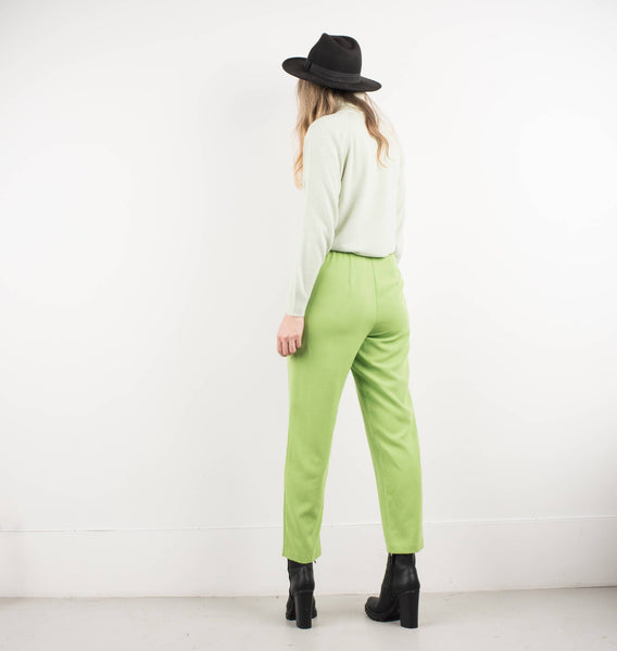 Vintage Lime Green Tapered Trousers / S