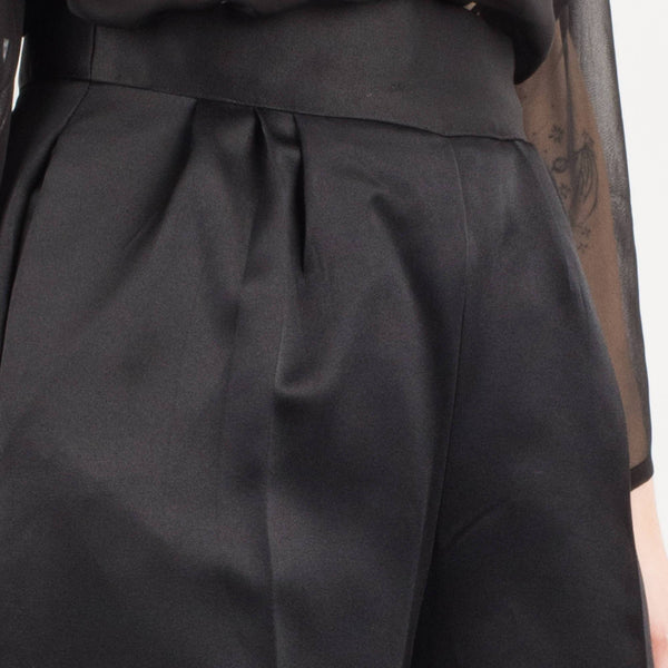 Vintage Black Satin High Waist Trousers / S