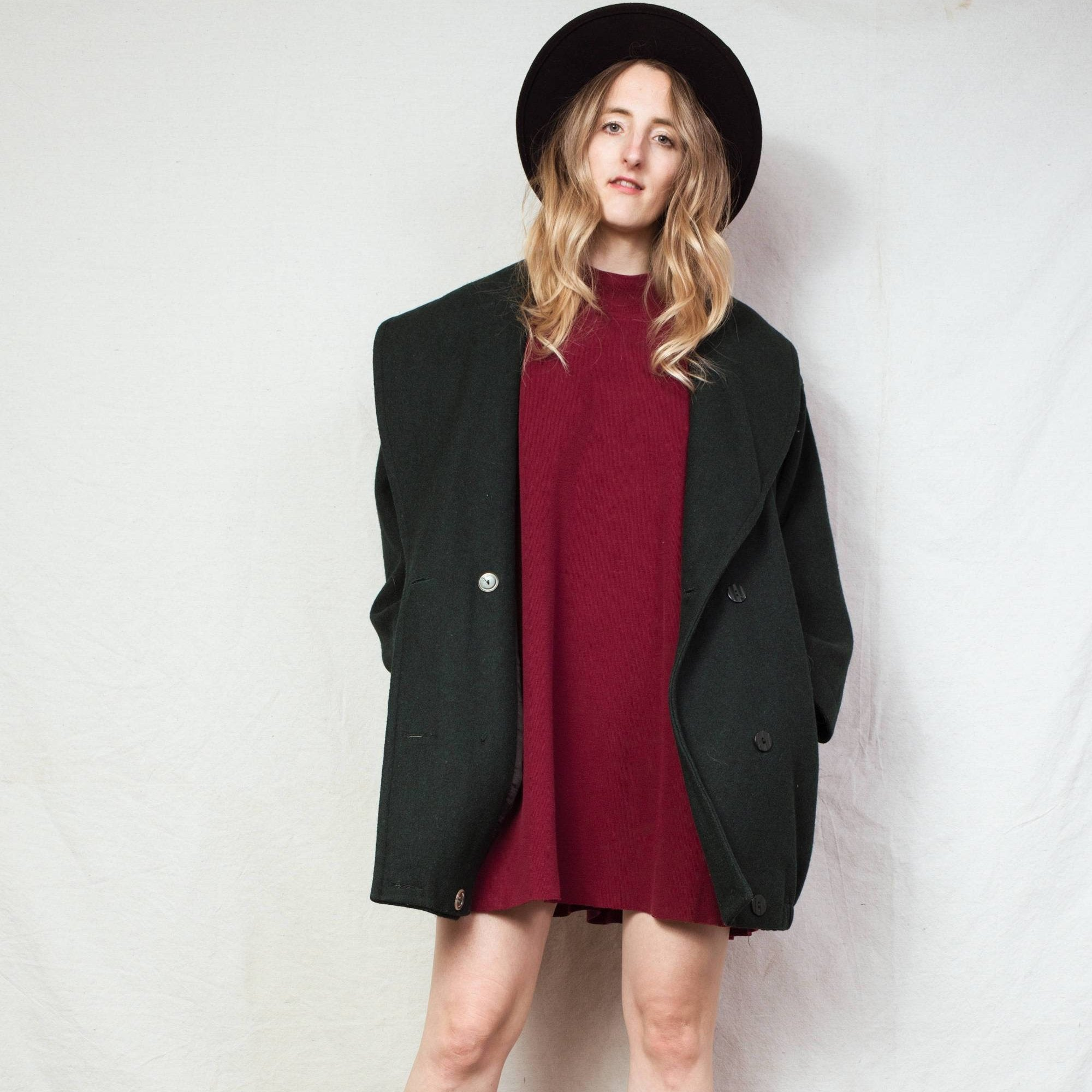 Vintage Forest Green Wool Coat / S