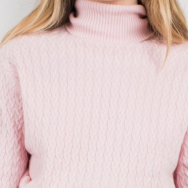 Vintage Light Pink Turtleneck Cable Knit Cashmere Sweater / S