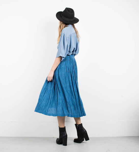 Vintage Waterfall Blue Striped Flowy Skirt / XS/S