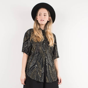 Vintage Sheer Black Oversized Gold and Silver Sparkle Blouse / S - Closed Caption
