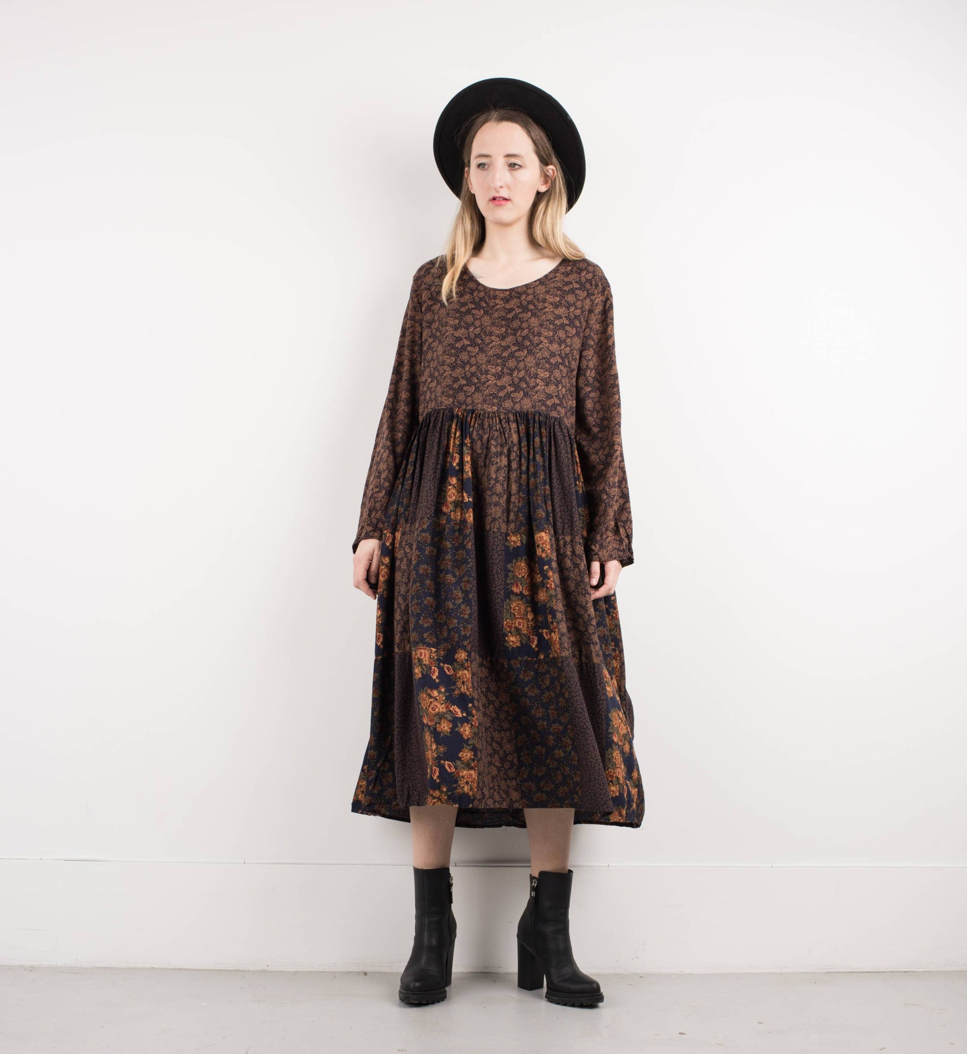 5aaa927e0d29 Vintage Coffee Floral Patchwork Maxi Dress   S – Erika Astrid Vintage