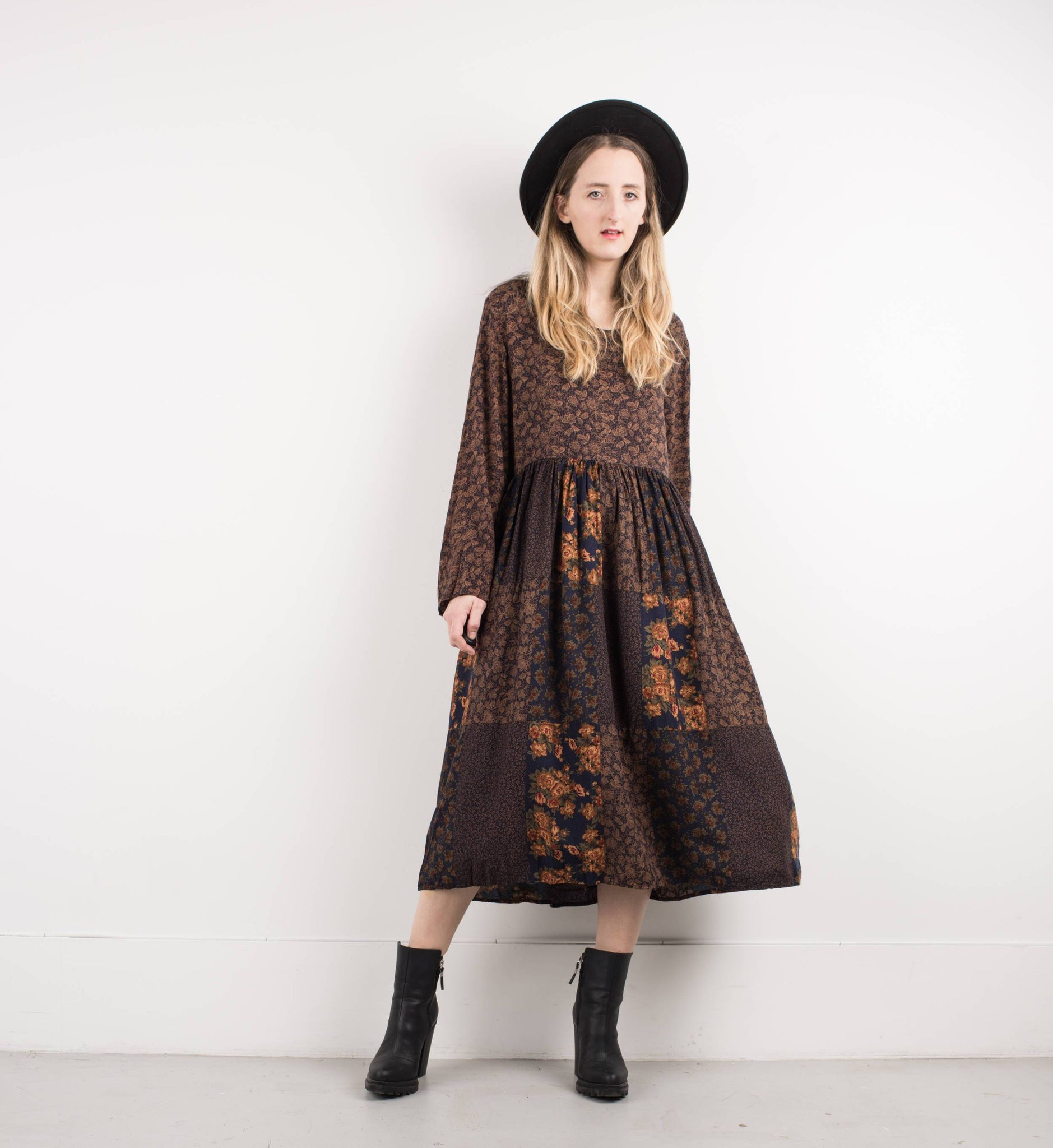 Vintage Coffee Floral Patchwork Maxi Dress / S - Closed Caption