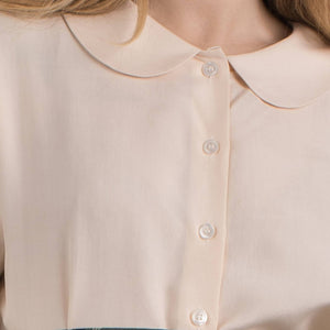 Vintage Eggshell DKNY Peter Pan Collar Silk Blouse / S - Closed Caption