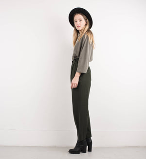 Vintage Olive Green Oversized Knit Blouse / S - Closed Caption