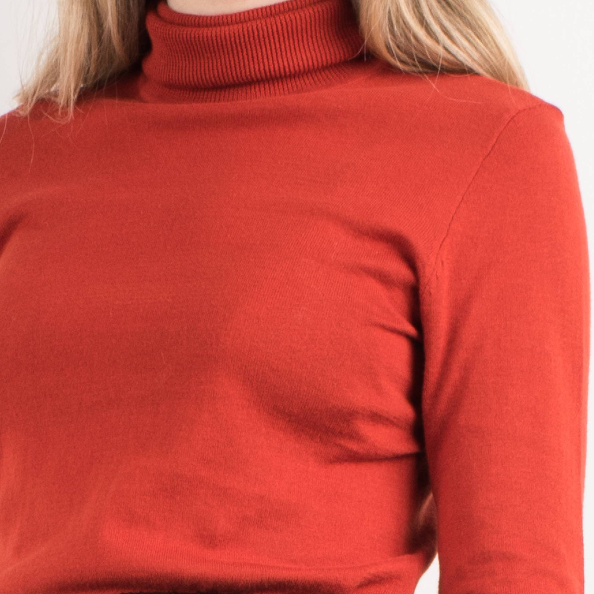 Vintage Rust Knit Turtleneck Sweater / S - Closed Caption