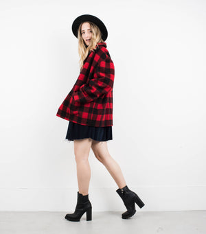 Vintage Black + Red Wool Flannel Jacket / S - Closed Caption