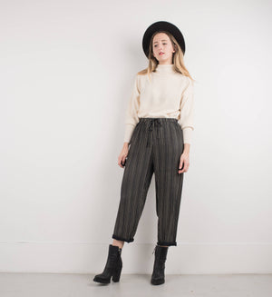 Vintage Black + Creme Floral Striped Elastic Waist Pants / S - Closed Caption