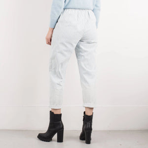Vintage Powder Blue + White Elastic Waist Striped Denim Pants / S/M - Closed Caption