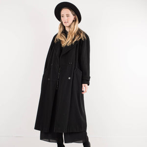 Vintage Black Wool and Cashmere Coat / S