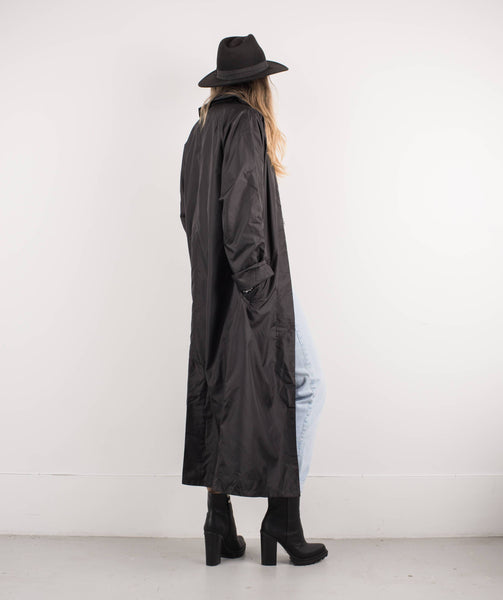 Vintage Black Paper Thin Raincoat Coat / S