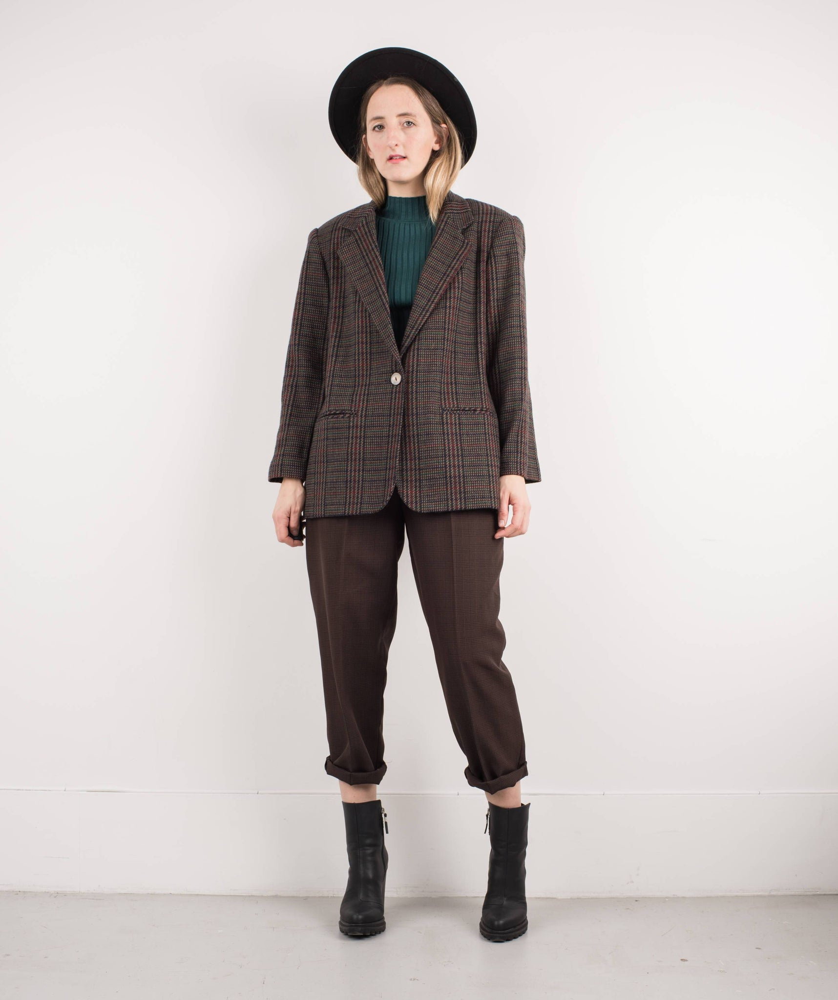 Vintage Chocolate Plaid Oversized Wool Blazer / S - Closed Caption