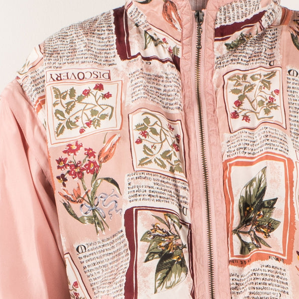 Vintage Oversized Rose Floral Silk Track Jacket with Detachable Sleeves / S