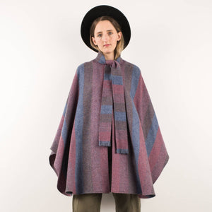 Vintage Dark Muted Pastel Wool Poncho