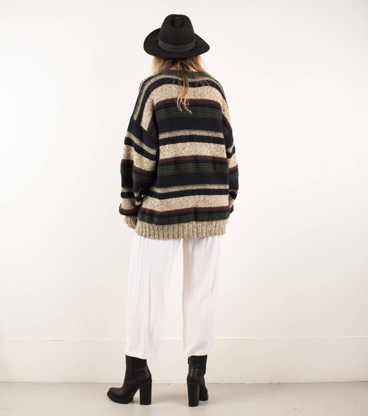 Vintage Oversized Beige Navy Green Striped Knit Sweater XS-M