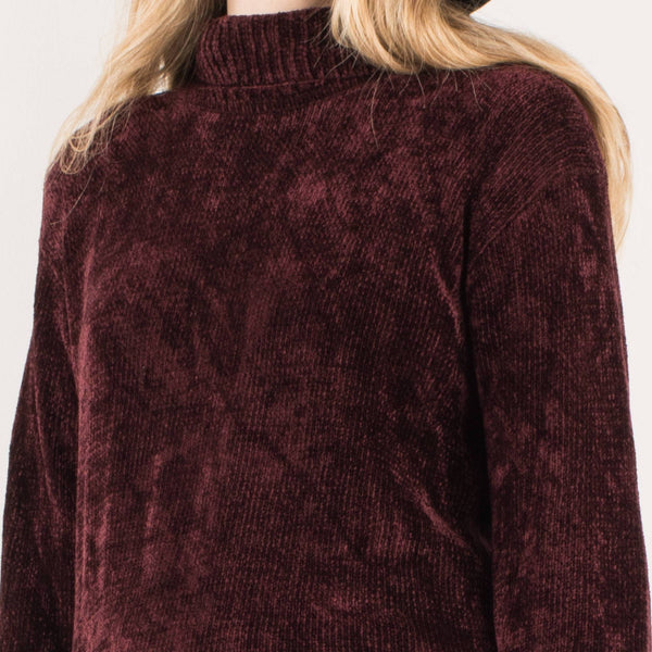 Vintage Oversized Burgundy Chenille Turtleneck Knit Sweater XS-M
