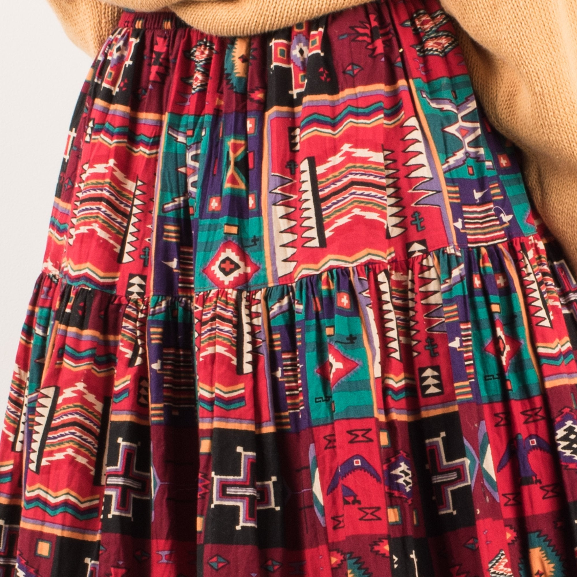 Vintage Colorful Tribal Aztec Gathered Maxi Skirt / XS/S - Closed Caption