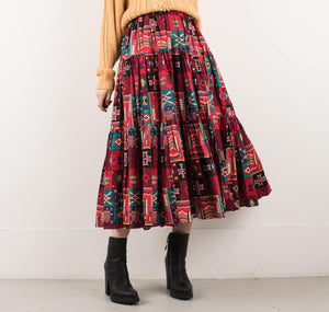 Vintage Colorful Tribal Aztec Gathered Maxi Skirt / XS/S