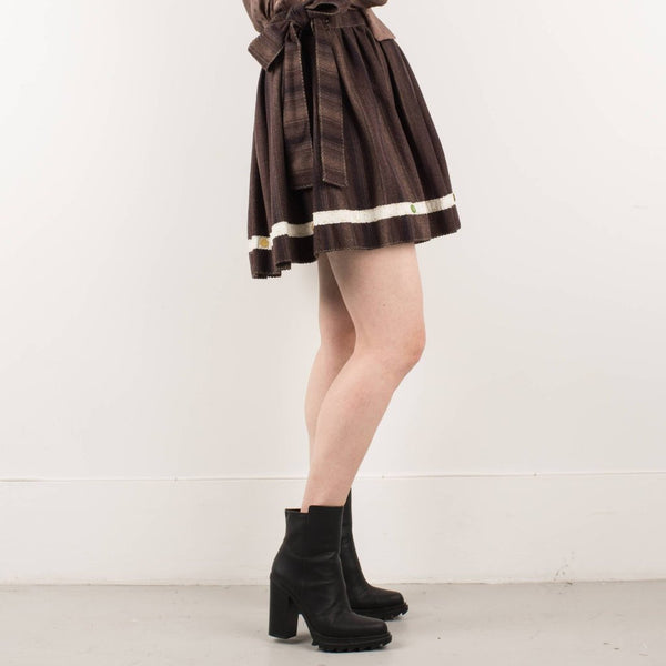 Handmade Chocolate Striped Wool Wrap Skirt / ONE SIZE